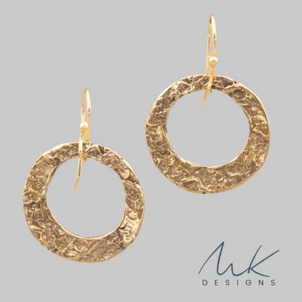 Hammered Dangle Circle Bronze Earrings by MK Designs