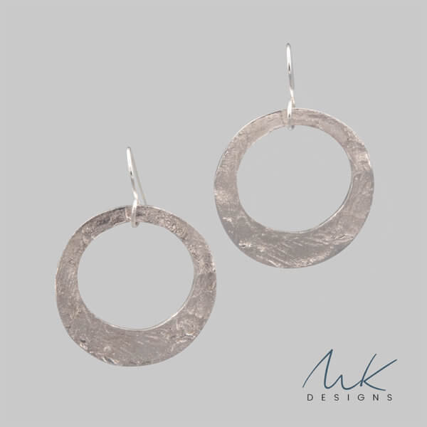 Hammered Dangle Circle Silver Earrings by MK Designs
