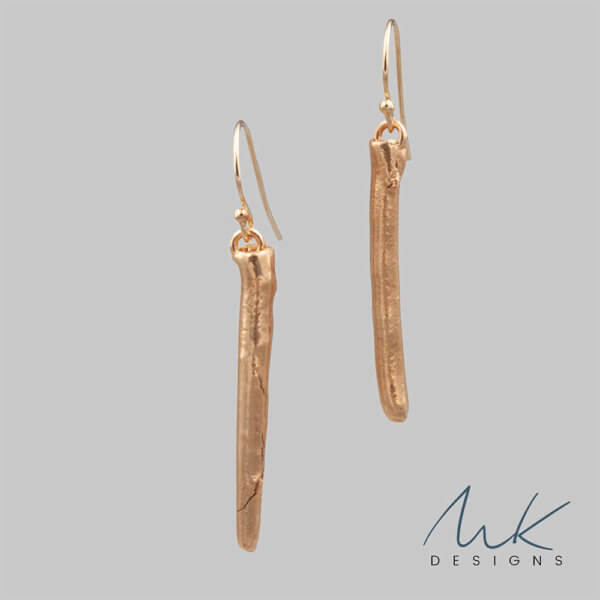 Skinny Bronze Bar earrings by MK Designs