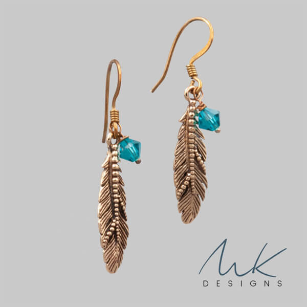 crystal bronze feather earrings