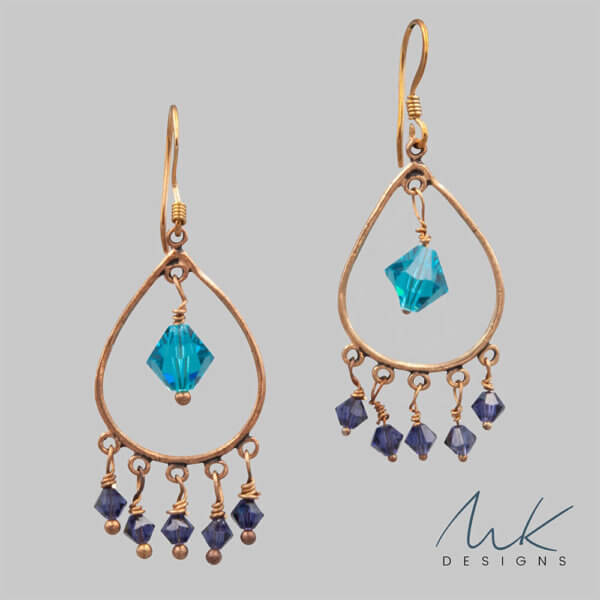 Aqua Crystal and Bronze Teardrop earrings