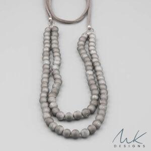 Long Druzy Boho Gray Necklace by MK Designs