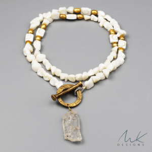 Golden Pearl and Bronze Quartz Pendant Necklace by MK Designs