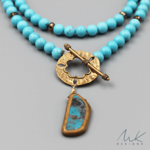 Magnesite and Turquoise Pendant Necklace by MK Designs