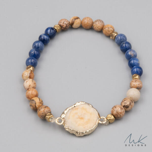 Lapis and Jasper Bracelet with Cream Druzy accent by MK Designs