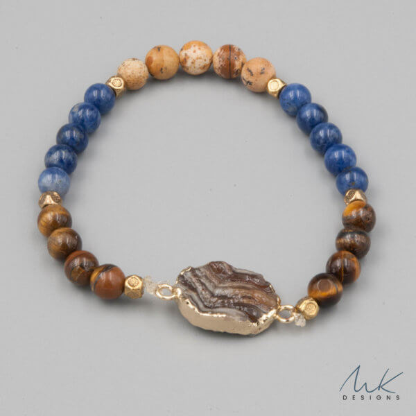 Lapis and Jasper Bracelet with Brown Druzy accent by MK Designs