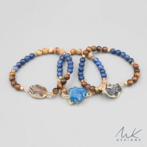 Lapis and Jasper Bracelets with Druzy accent by MK Designs
