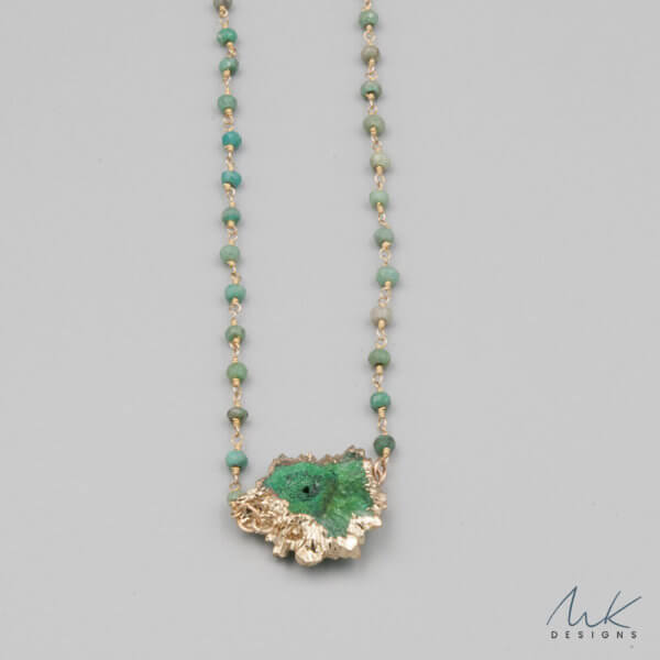 Green Amazonite and Druzy Necklace by MK Designs