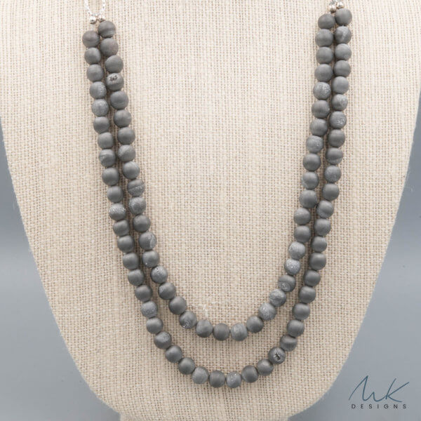 Long Druzy Boho Gray Necklace by MK Designs