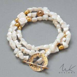 Long Pearl and Bronze Necklace by MK Designs