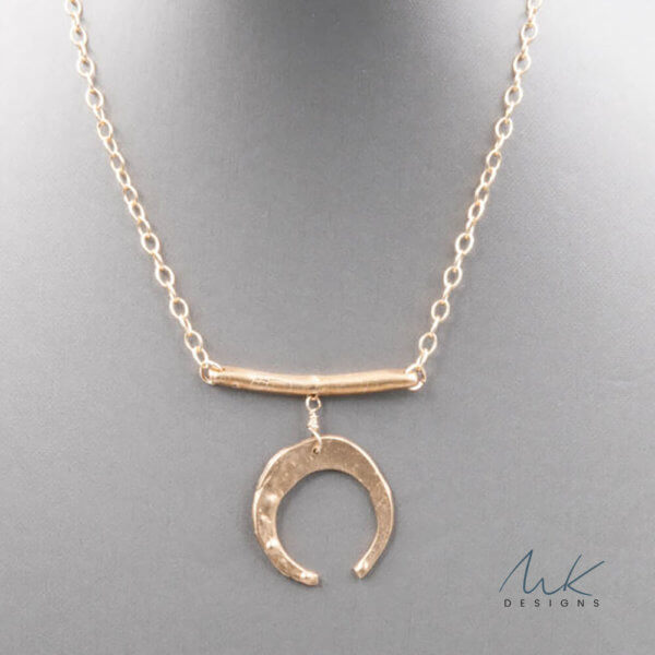 Bronze Horizontal Bar with Crescent Pendant Necklace