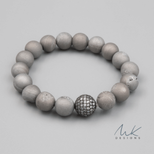 Silver Ball Gray Druzy Bracelet