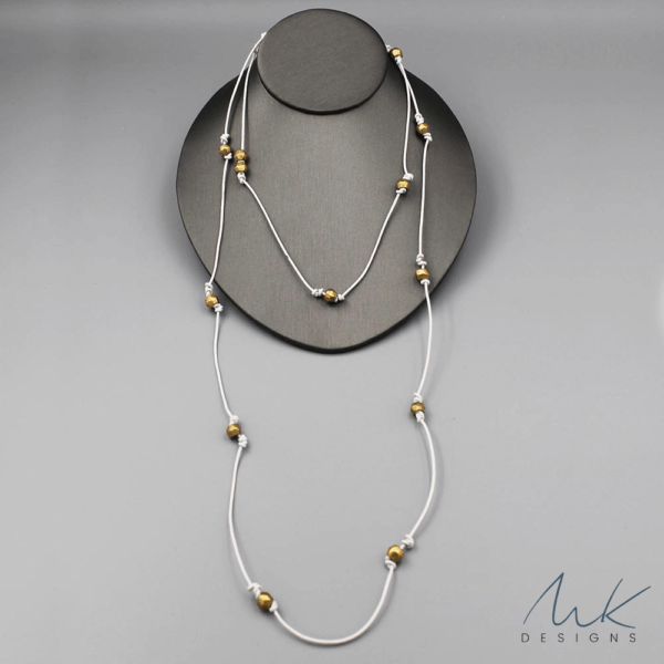 White Leather African Bead Necklace by MK Designs