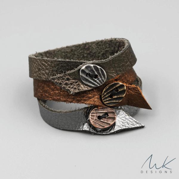 leathermetallicbracelet b MK Designs