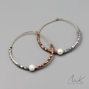 Triple Metallic & Pearl Hoop Earrings