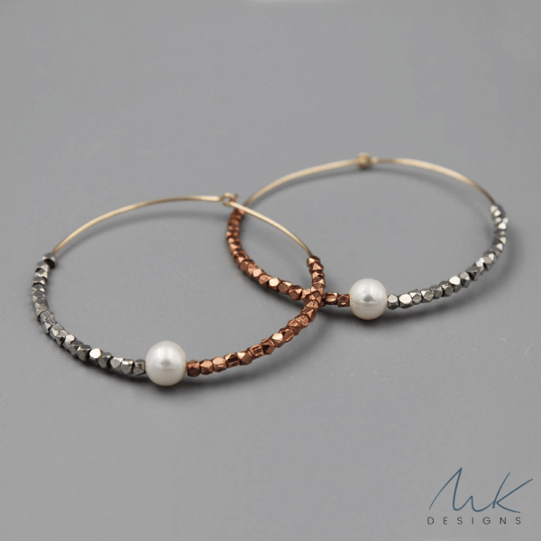 Rose, Silver and Pearl Metallic Hoop Earrings by MK Designs