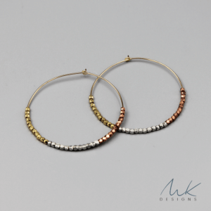 Triple Metallic Hoop Earrings by MK Designs