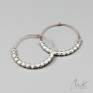 whitesilverbeadhoopearrings by MK Designs