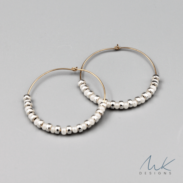 whitesilverbeadhoopearrings by MK Designs