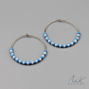 turquoisewhitebeadhoopearrings by MK Designs
