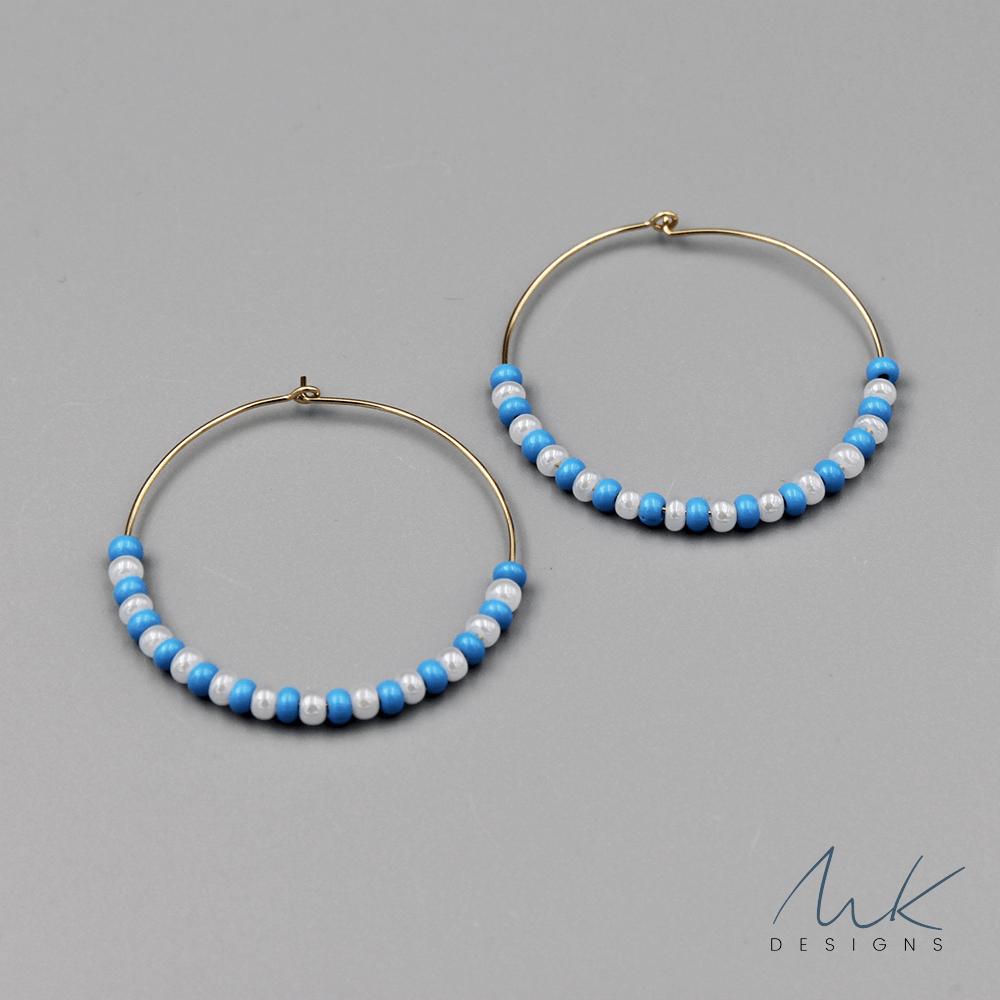 Turquoise White Bead Hoop Earrings