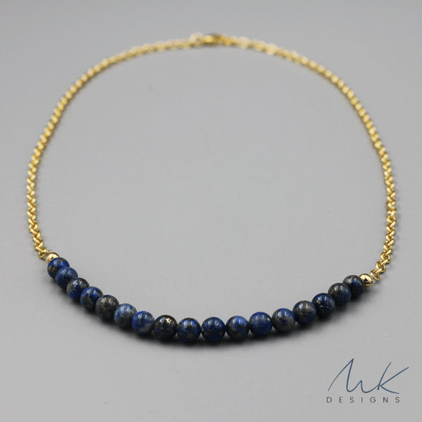 Gold Lapis Necklace by MK Designs