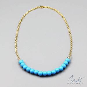 Gold Chalk Turquoise Necklace by MK Designs