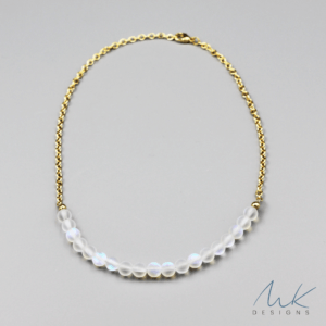 Gold Rainbow Moonstone Opalite Necklace by MK Designs