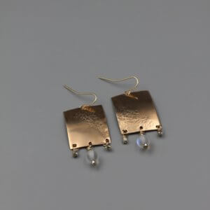 Bronze Rectangle Earrings with Rainbow Opalite