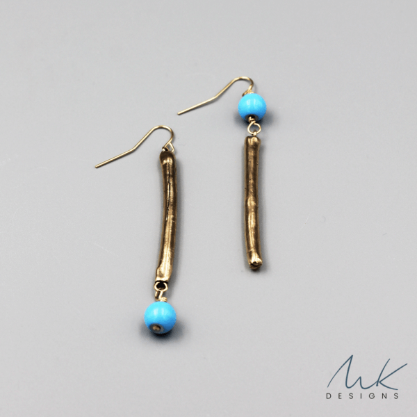 Assymetrical Bronze Bar Earrings byMK Designs