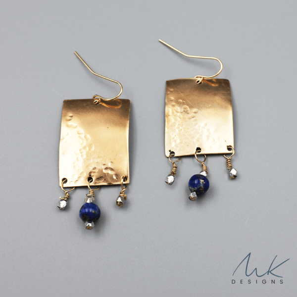 bronzerectanglehammeredearrings by MK Designs