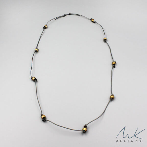 Gray Leather African Bead Necklace by MK Designs