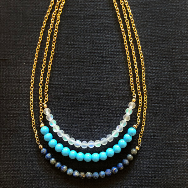 Layered Gold Beaded Necklaces by MK Designs