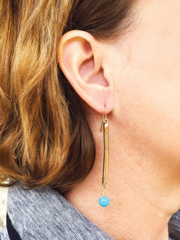 Assymetrical Bronze Bar Earrings by MK Designs