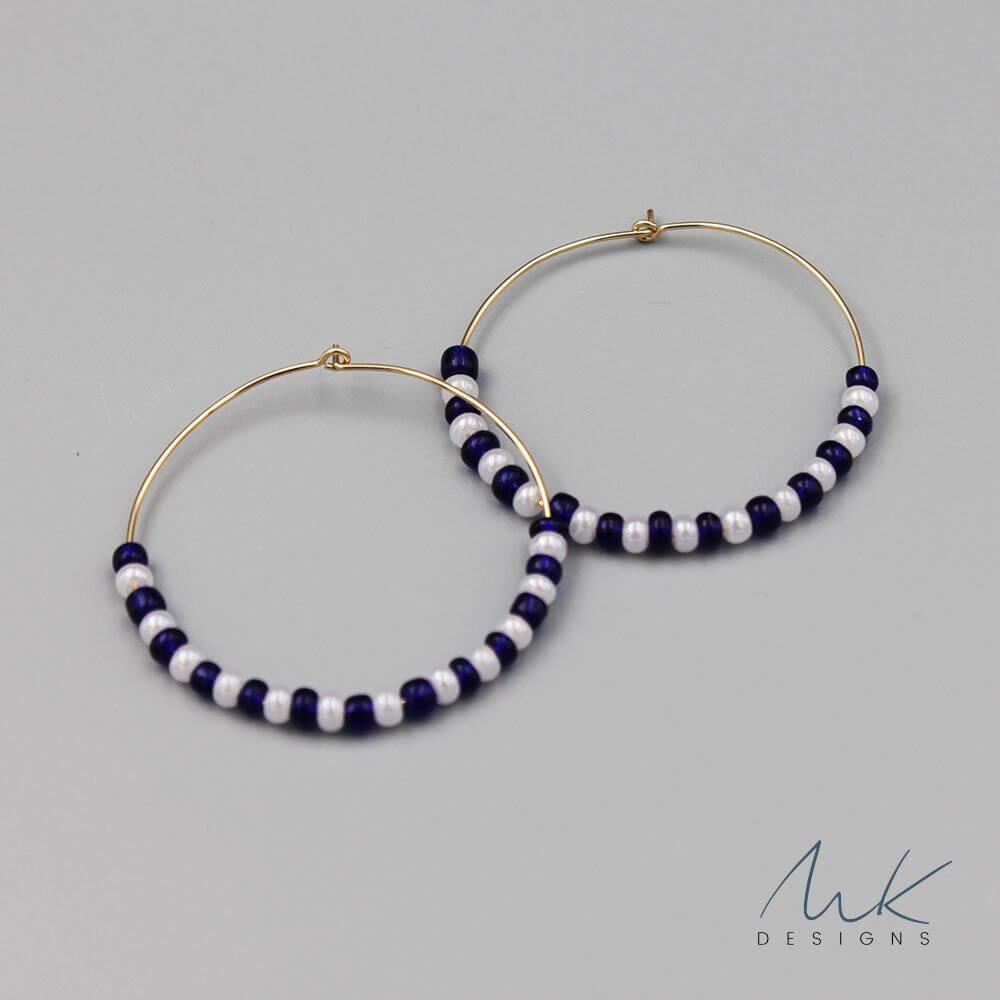 Navy And White Bead Hoop Earrings