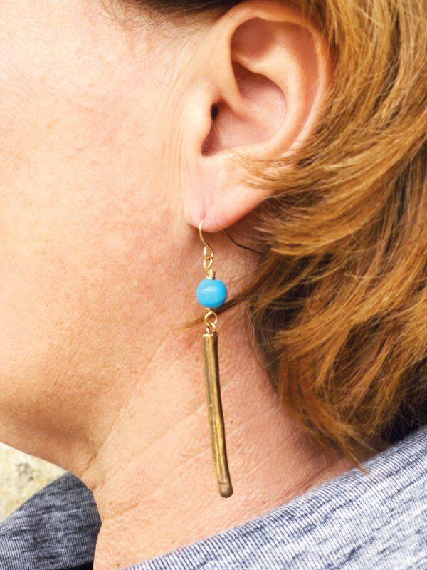 Assymetrical Bronze Earrings by MK Designs