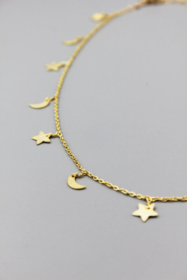 Gold Crescent and Star Necklace by MK Designs