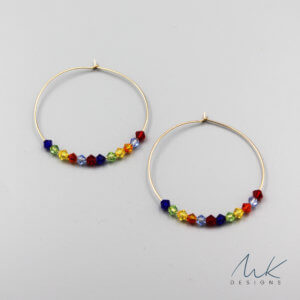 Rainbow Crystal Hoop Earrings by MK Designs