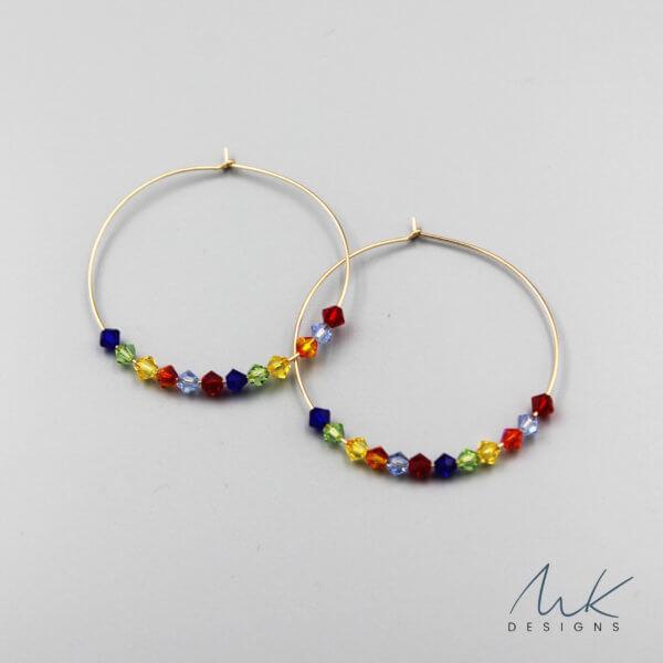 Rainbow Crystal Hoop Earrings by MK Designs