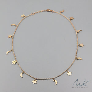Rose Gold Crescent and Star Necklace by MK Designs