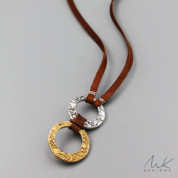 Double Hammered Bronze and Sterling Silver Circle Necklace