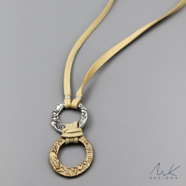 Double Hammered Bronze and Sterling Silver Circle Necklace by MK Designs