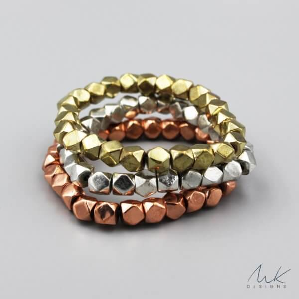 Large Sparkly Stretch Bracelet Set in Gol, Silver and Copper by MK Designs