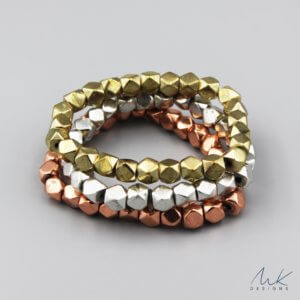 Large Sparkly Stretch Bracelet in Copper, Silver and Gold
