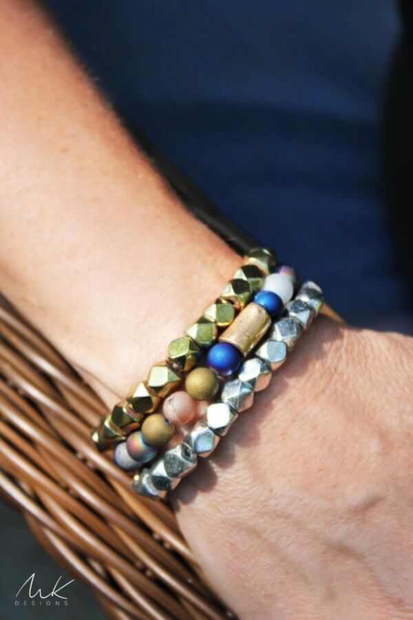 Bronze Mixed Druzy Agate and Large Sparkly Metallic Bracelet Set