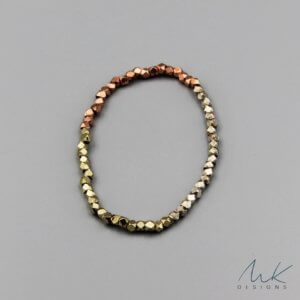 Sparkly Metallic Stretch Bracelet in Copper, Silver and Brass