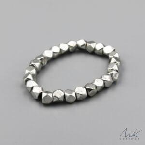 Large Sparkly Stretch Bracelet in Silver