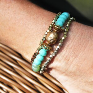 Bronze Glass Bead and Sparklly Metallic Stretch Bracelets