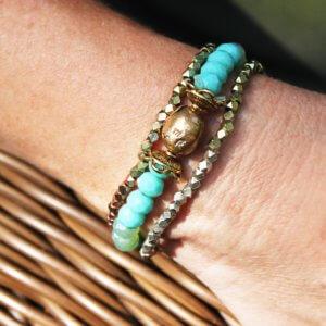 Bronze Glass Bead and Sparklly Metallic Stretch Bracelets
