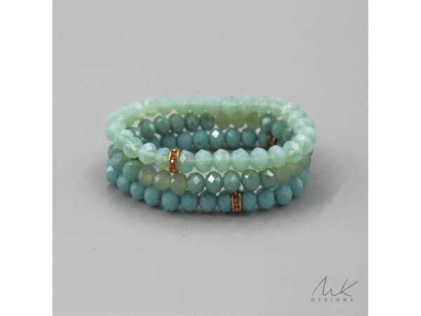 Bright Turquoise Glass Bead & Vintage Rondelle Bracelets